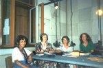 Being interviewed on Croatian radio, Xagreb, 1994